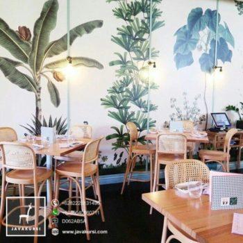 Meja Kursi Cafe Rotan Kayu Minimalis