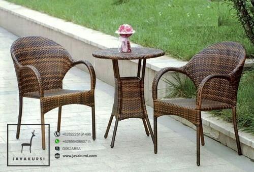 Jual Meja Kursi Teras Rotan Sintetis Coklat Furniture Rotan Jepara